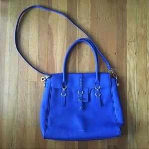 Hayden Harnett Capote Blue Leather Satchel